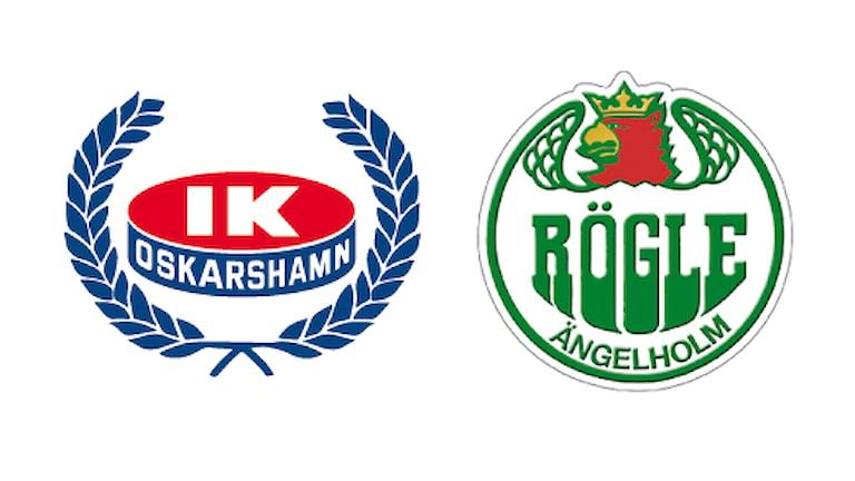 IK Oskarshamns och Rögles klubbmärken.