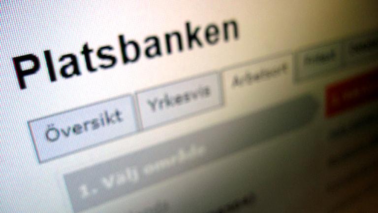 Platsbanken på nätet. Foto: Nick Näslund/Sveriges Radio.