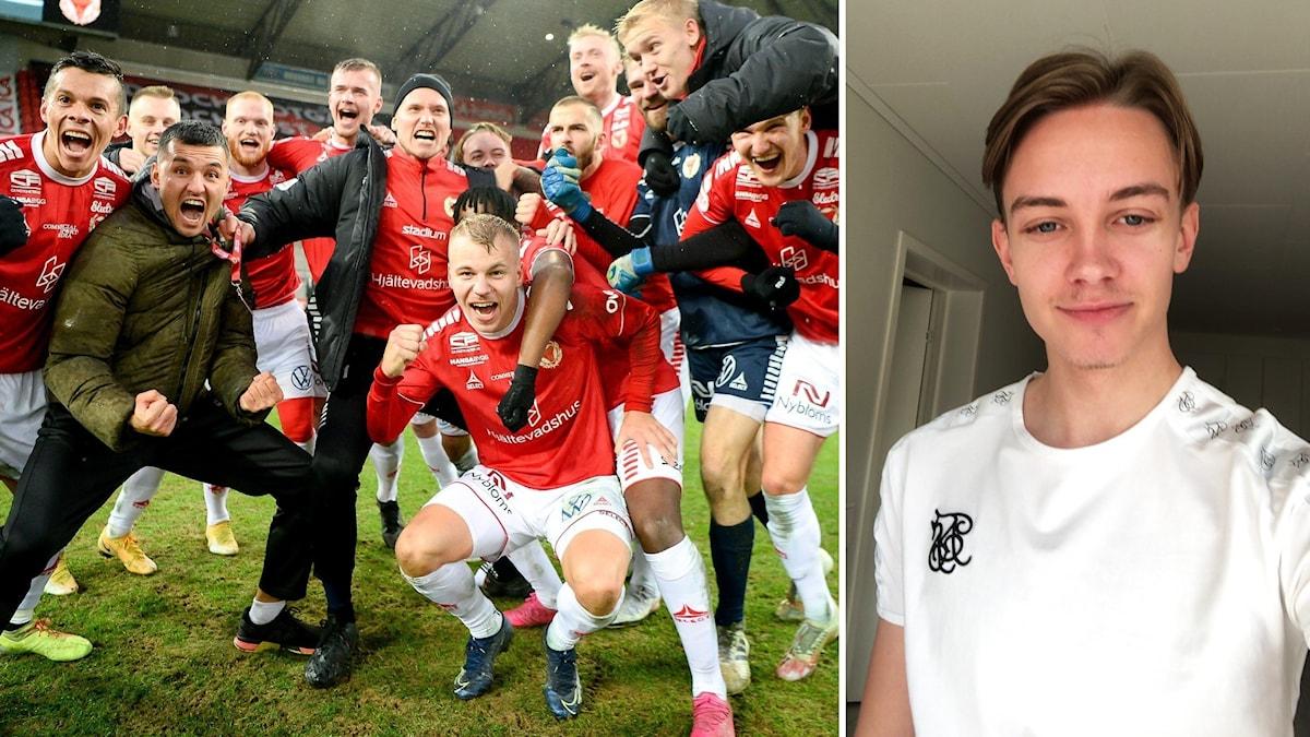 Fotbollsspelare och porträttbild på ung man.