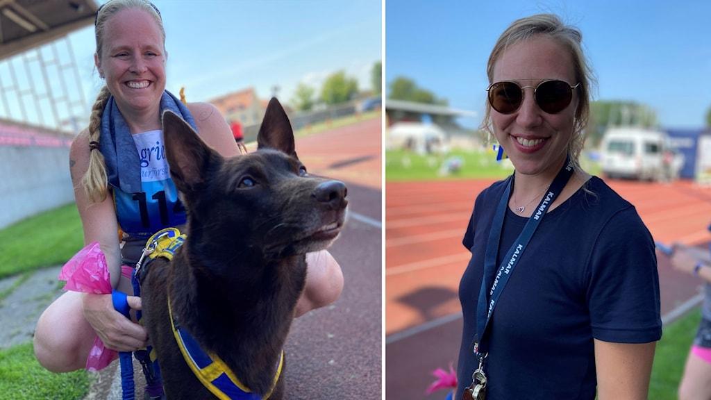 Tvådelad bild, till höger en kvinna sitter på huk med sin hund. Till vänster närbild på en kvinna.