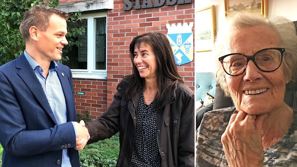 Kollage med två politiker och en person inom hemtjänsten.