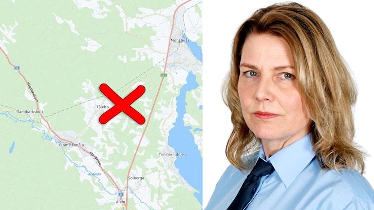 Karta över olycksplatsen och polisens pressinformatör Åsa Emanuelsson