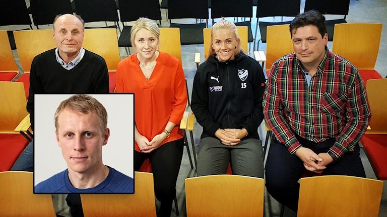 Bosse Nilsson, Lovisa Johansson, Elsa Karlsson och Magnus Krusell sitter på stolar. Richard Henriksson på infälld bild.