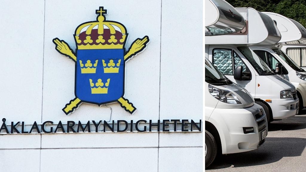 Bild på husbilar och åklagarmyndighetens logotyp.