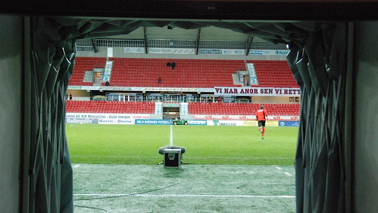 Spelartunneln på Guldfågeln Arena. Foto: Viktor Blomberg/Sveriges Radio.