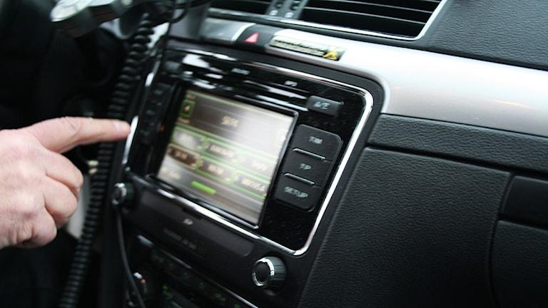 Taxibils interiör. Foto: Nick Näslund/Sveriges Radio.