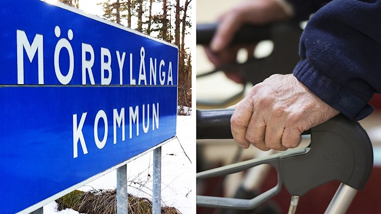 Mörbylångas kommunskylt och äldre hand.