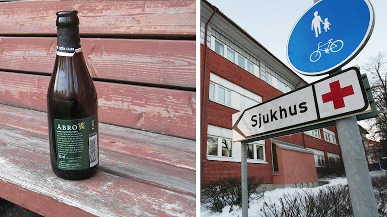 Ölflaska och sjukhus. Foto: Nick Näslund/Sveriges Radio.