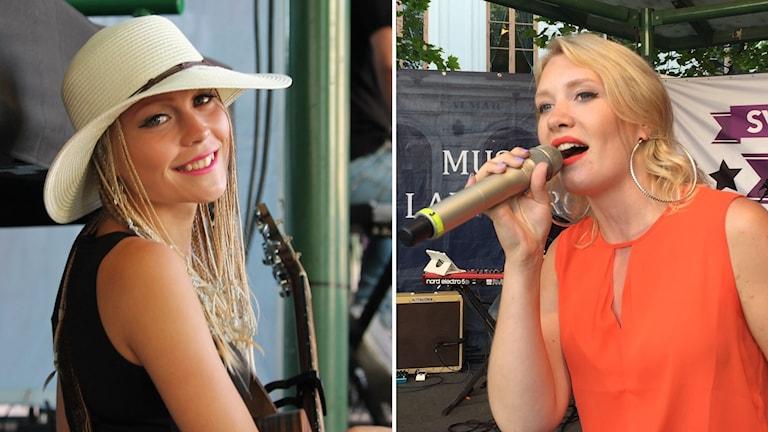 Två bilder på Ida Gratte och Elin Namnieks som står på scen.