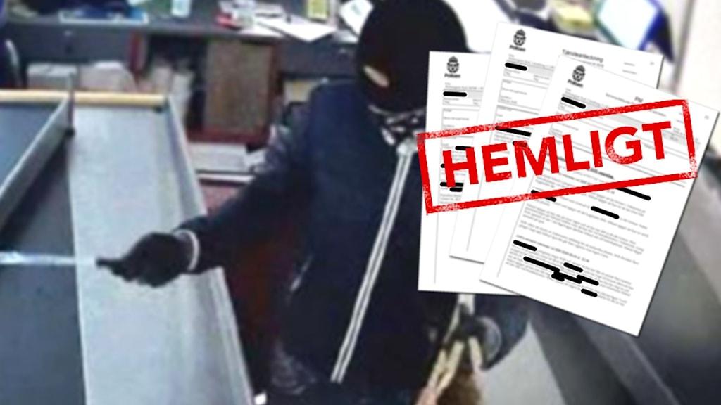 """Bild från övervakningskamera på maskerad rånare. Dokument med stämpeln """"hemligt""""."""