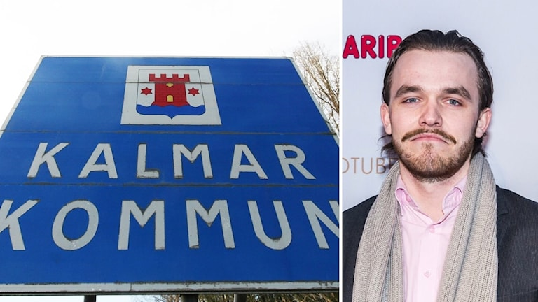 Kalmar kommun-skylt och bild på Gustav Karlsson.
