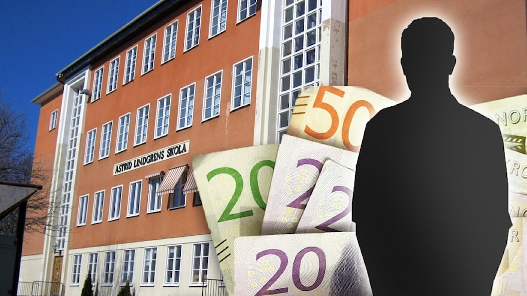 Montage med en skola i bakgrunden och pengar i förgrunden.