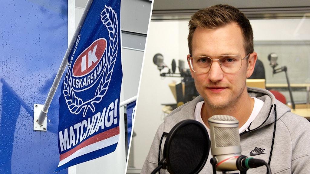 Montage med en IK Oskarshamns-flagga och en man som sitter i en radiostudio.