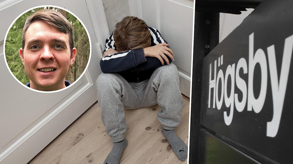 Montage med en ledsen pojke och en skylt där det står Högsby.