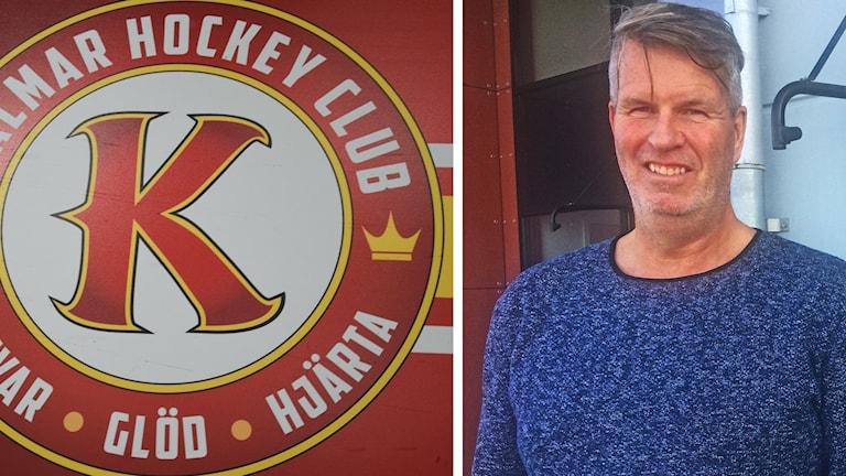 Kalmar HC:s logga och mannen bakom sponsorn Kambua International, Stefan Sandström.
