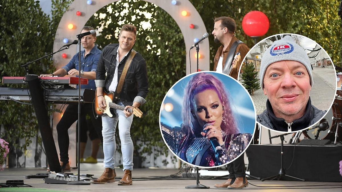 Tre personer spelar instrument på en scen. Två inklippta bilder på två personer. Fotograf: Maja Suslin/TT, Stina Stjernkvist/TT och privat Mats Tärnfors.