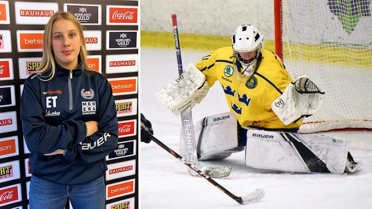 En tjej som är ishockeymålvakt.