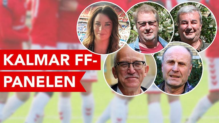 En kvinna och fyra män som utgör Kalmar FF-panelen.