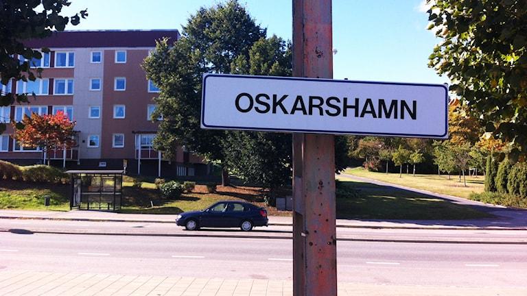 """Skylt med texten """"Oskarshamn"""". Foto: Nick Näslund/Sveriges Radio"""