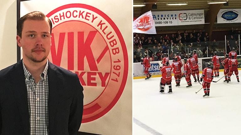 Johan Rothlind och hockeyspelare.