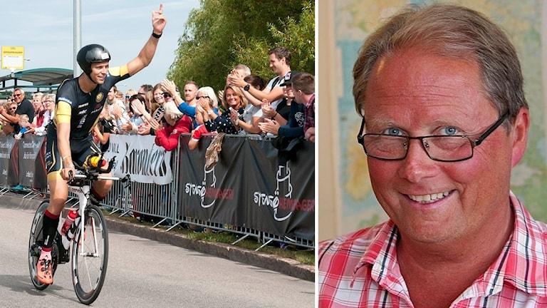 Cyklist och bild på Erling Brännström.