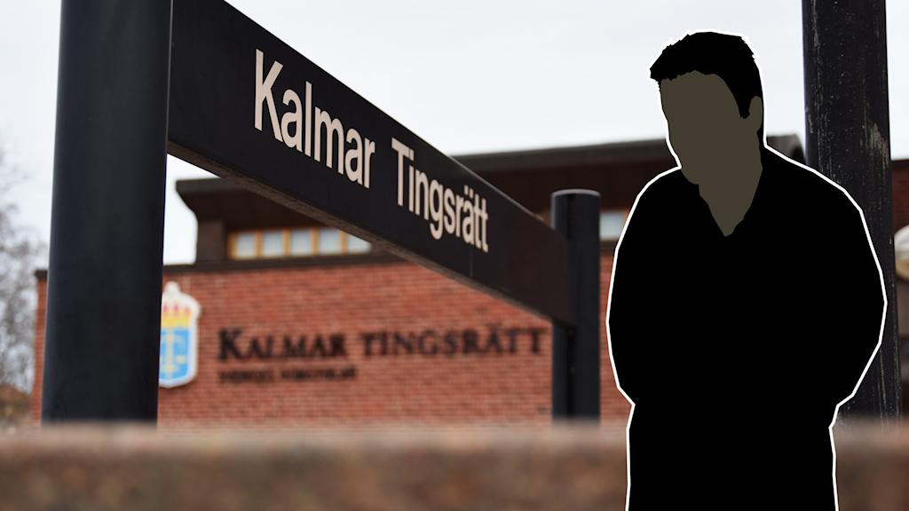 En svart manlig siluette framför Kalmar tingsrätt.