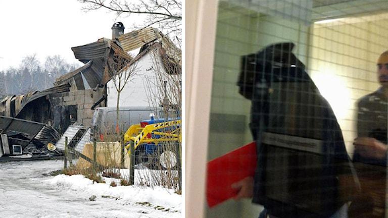 Nedbrunnet hus och man som lämnar hovrätten. Foto: Helmuth Petersson och Sigrid Edsenius/Sveriges Radio