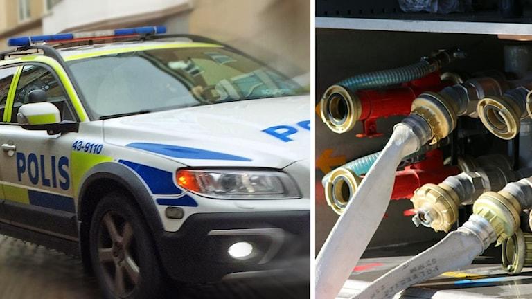 Bild på polisbil och slangar i brandbil.