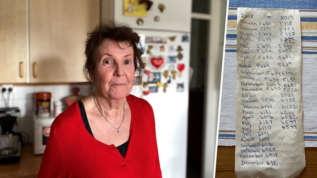Kvinna i röd tröja och bild på handskriven lapp med olika summor