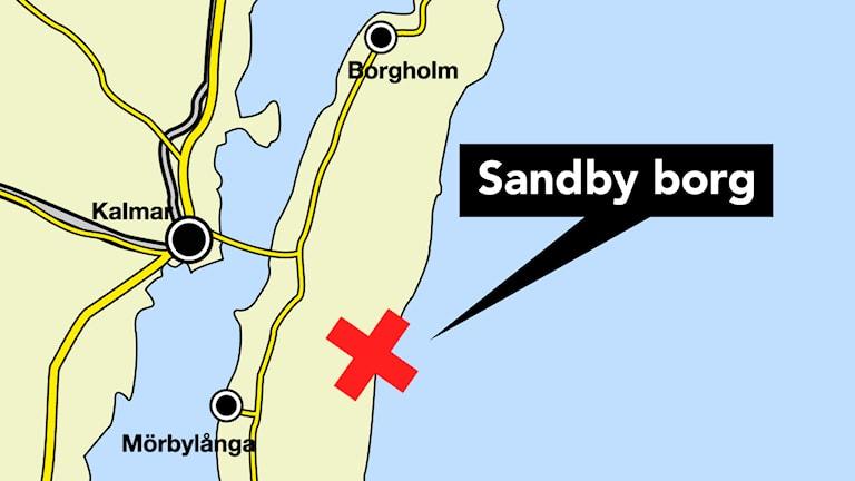 Karta över Öland och Sandby borg.