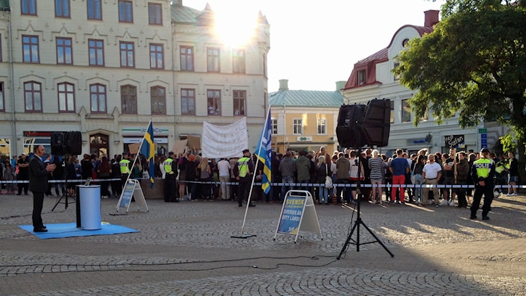 Svenskarnas partis torgmöte. Foto: Johanna Lindblad Ahl/Sveriges Radio