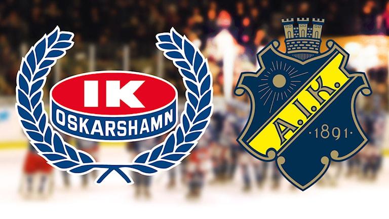 Klubbmärken IK Oskarshamn och AIK