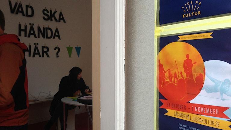Ljus på kulturs festivalkontor. Foto: Erika Norberg/Sveriges Radio