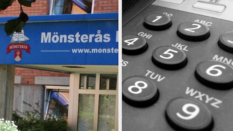 Mönsterås kommun och telefon. Foto: Sveriges Radio