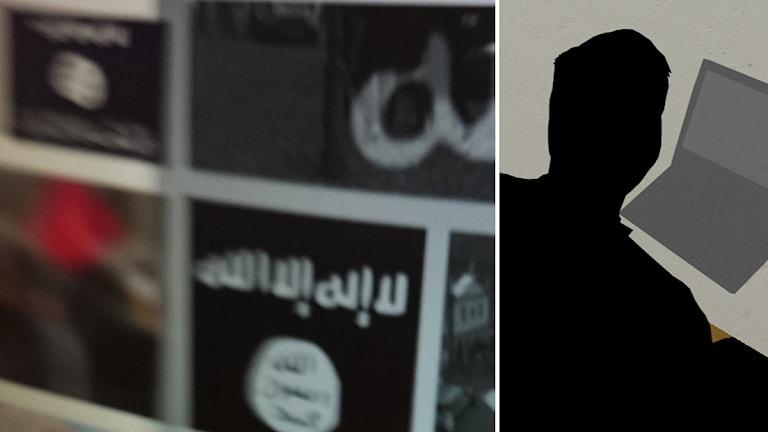 Isisflaggor och siluetten av en man vid en dator. Illustration/foto: Nick Näslund/Sveriges Radio