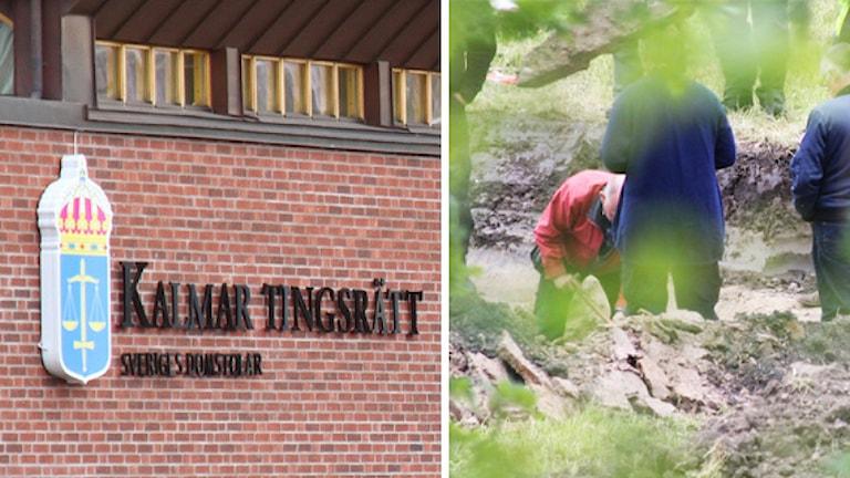 Kalmar tingsrätt och polisens tekniker arbetar. Foto: Leif Johansson och Nick Näslund/Sveriges Radio