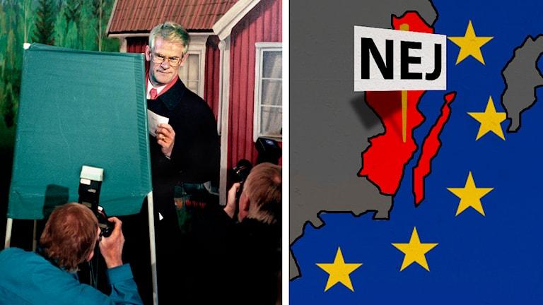 Ingvar Carlsson ska rösta. Karta över Kalmar län med en nej-skylt. Foto: Tobias Röstlund/TT Illustration: Nick Näslund/Sveriges Radio
