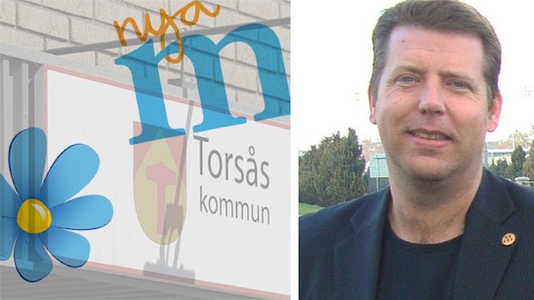 SD och M:s logotyper och Henrik Yngvesson. Foto: Sveriges Radio