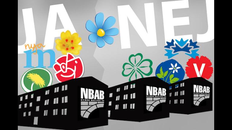 Partiernas ståndpunkter. Grafik: Nick Näslund/Sveriges Radio