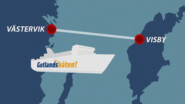 Gotlandsbåtens linje. Grafik: Nick Näslund/Sveriges Radio