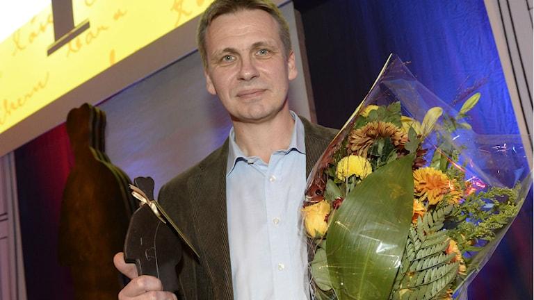 Jakob Wegelius från Mörtfors vann Augustpriset en andra gång på måndagskvällen. Foto: Jonas Ekströmer/TT.