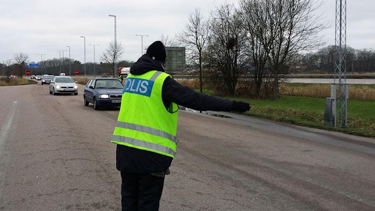 Poliskontroll vid Kalmar Dämme.