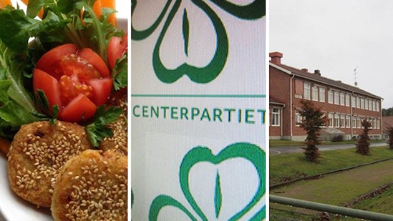 Mat, Centerpartiets logotyp och skolbyggnad. Foto: Sveriges Radio