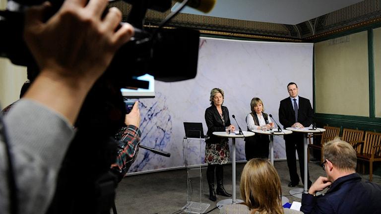 Presskonferens. Foto: Anders Wiklund/TT