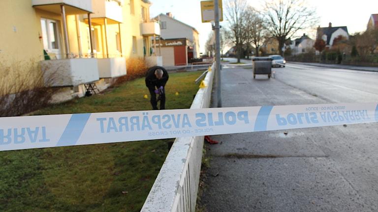 Polisavspärrning i Västervik. Foto: Johanna Lindblad Ahl/Sveriges Radio