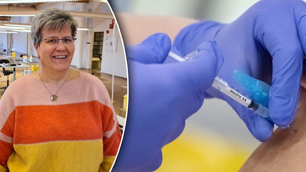 Bildsplit på kvinna som ler mot kameran och en person som blir vaccinerad.