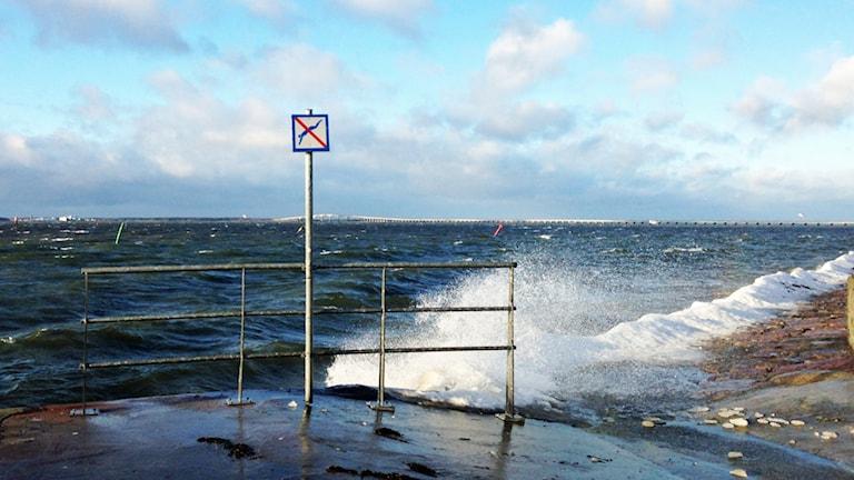 Höga vågor. Foto: Janne Rindstig/Sveriges Radio