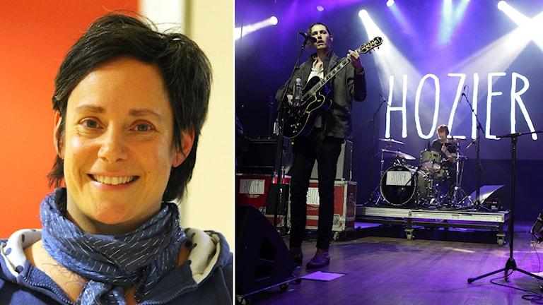 Helena Roditou Andersson och Hozier. Foto: Nick Näslund/Sveriges Radio och Owen Sweeney/TT