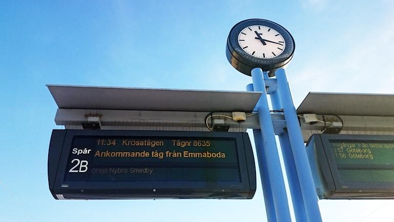 Klocka och skylt vid järnvägsstation. Foto: Nick Näslund/Sveriges Radio