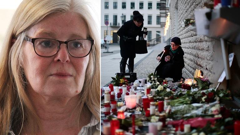 Nina Hjelmgren. Foto: Nick Näslund/Sveriges Radio och Markus Schreiber/TT.